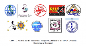 CSO-TU Position on the Recruiters' Proposed Addenda to the POEA Overseas Employment Contract