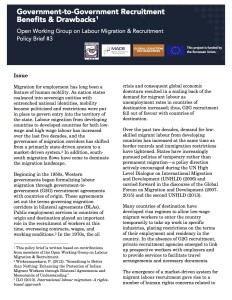 Policy Brief - Human Rights in G2G Agreements