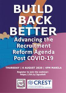 WEBINAR: Build Back Better:  Advancing the Recruitment Reform Agenda Post COVID-19
